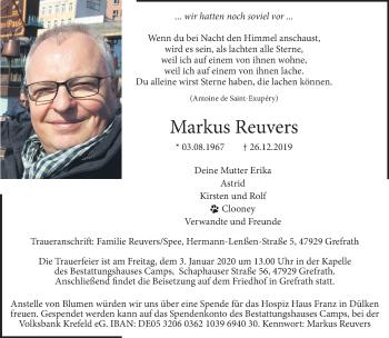 Traueranzeige von Markus Reuvers von Rheinische Post