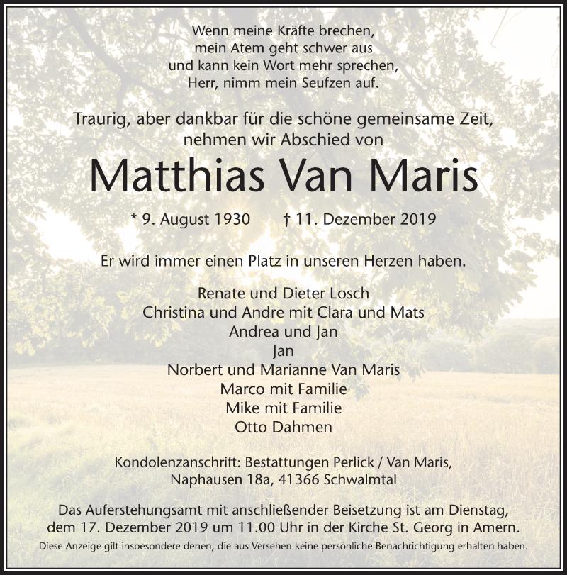 Anzeige von  Matthias  Van Maris