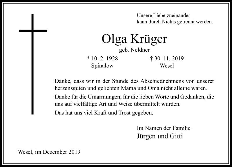 Anzeige von  Olga Krüger