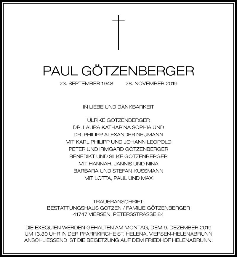 Anzeige von  Paul Götzenberger