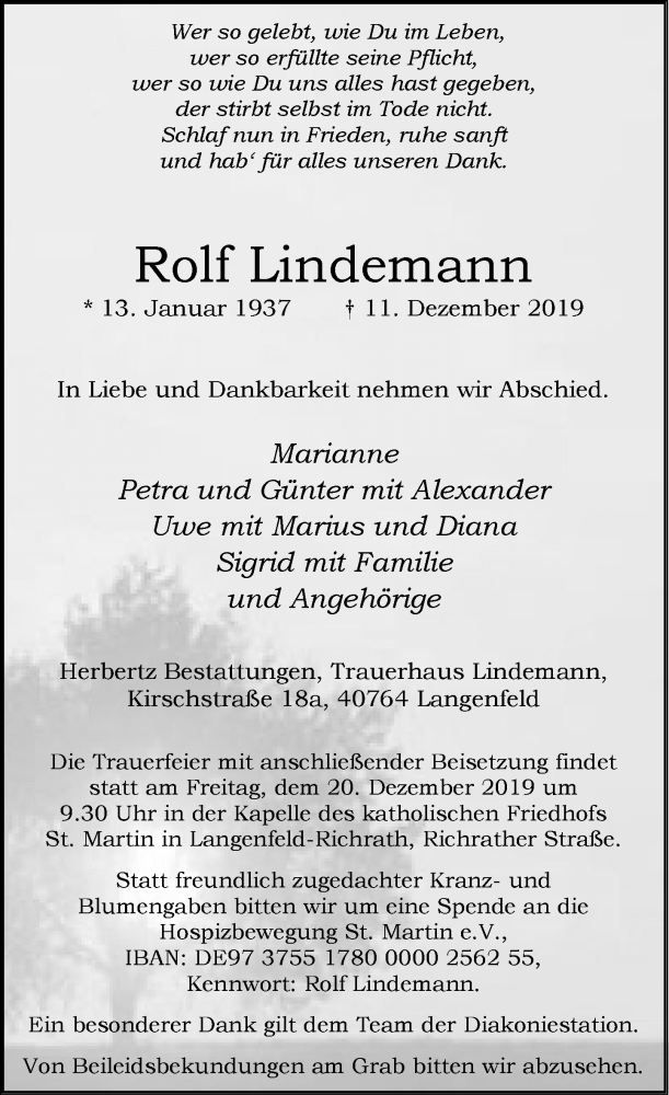 Traueranzeige für Rolf Lindemann vom 14.12.2019 aus Rheinische Post