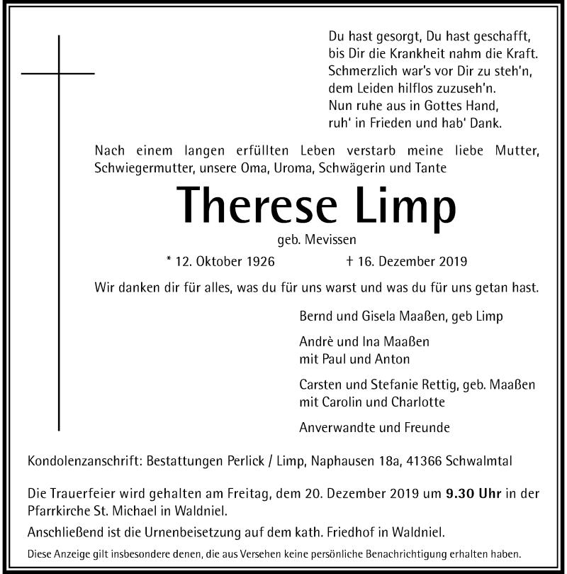 Anzeige von  Therese Limp