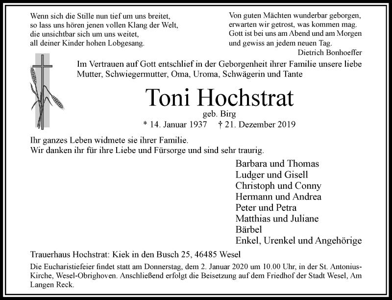 Anzeige von  Toni Hochstrat