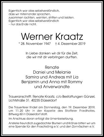 Traueranzeige von Werner Kraatz von Rheinische Post