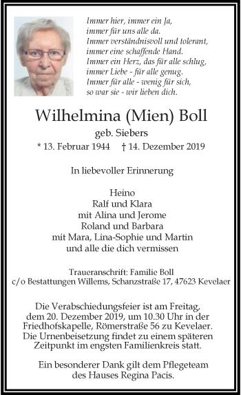 Traueranzeige von Wilhelmina Boll von Rheinische Post