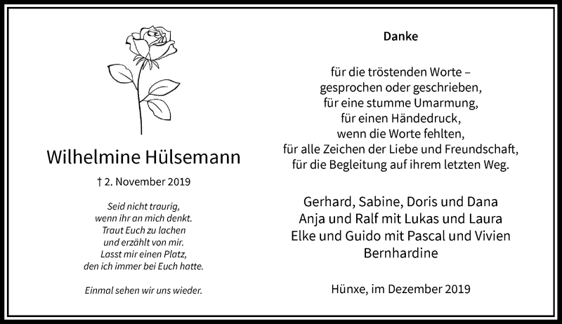 Anzeige von  Wilhelmine Hülsemann