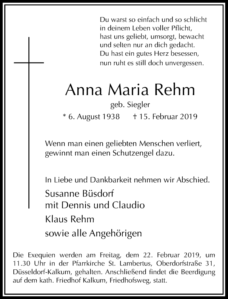 Traueranzeige für Anna Maria Rehm vom 20.02.2019 aus Rheinische Post