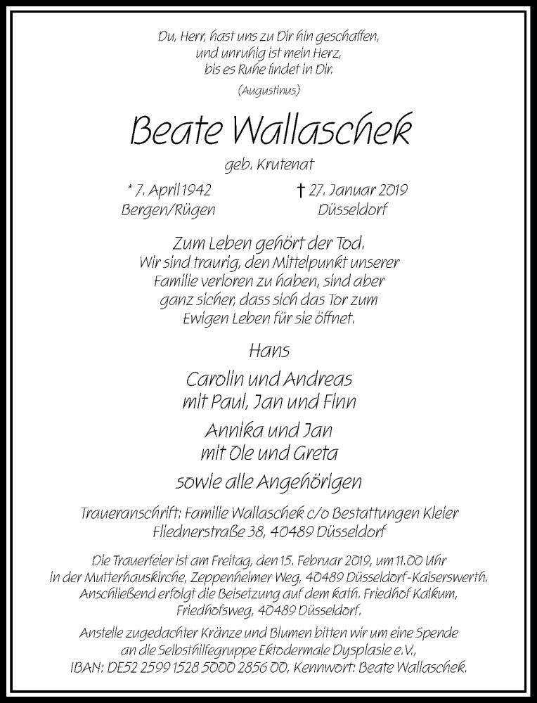 Anzeige von  Beate Wallaschek