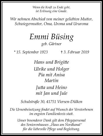 Traueranzeige von Emmi Büsing von Rheinische Post