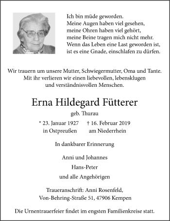 Traueranzeige von Erna Hildegard Fütterer von Rheinische Post