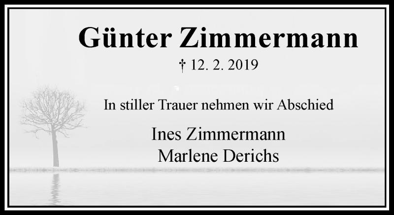 Anzeige von  Günter Zimmermann