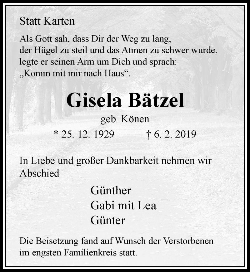 Anzeige von  Gisela Bätzel