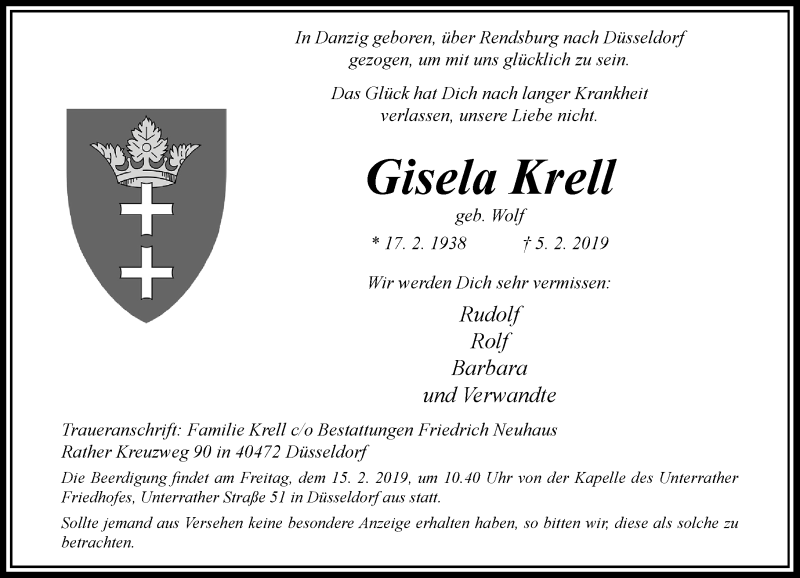 Anzeige von  Gisela Krell