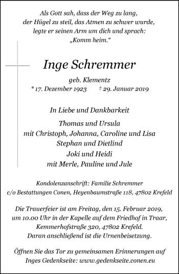 Traueranzeige von Inge Schremmer von Rheinische Post