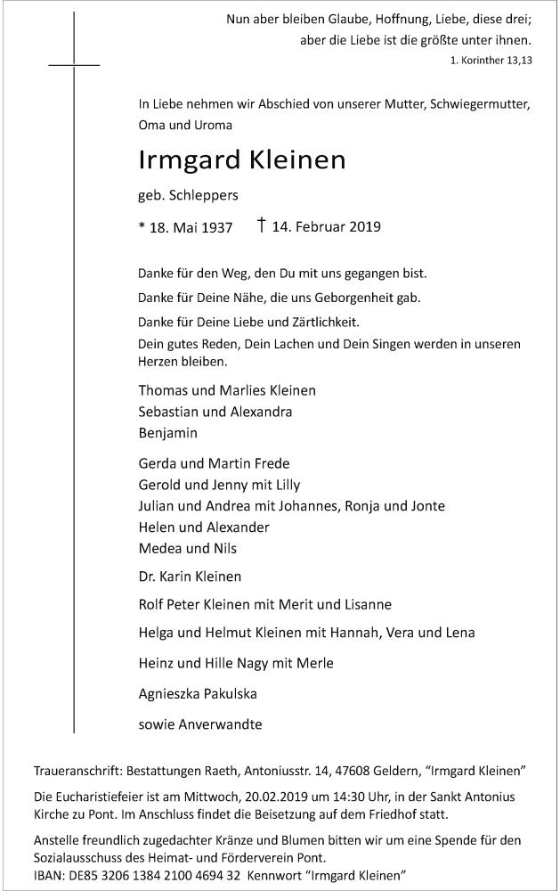 Traueranzeige für Irmgard Kleinen vom 16.02.2019 aus Rheinische Post