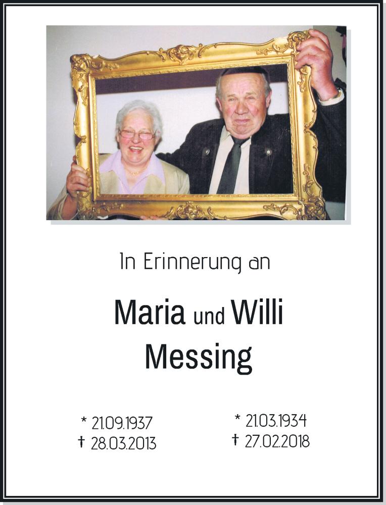 Traueranzeige für Maria und Willi Messing vom 27.02.2019 aus Rheinische Post