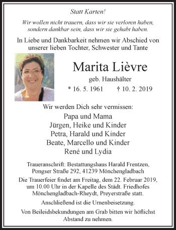 Traueranzeige von Marita Lièvre von Rheinische Post