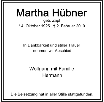 Traueranzeige von Martha Hübner von Rheinische Post