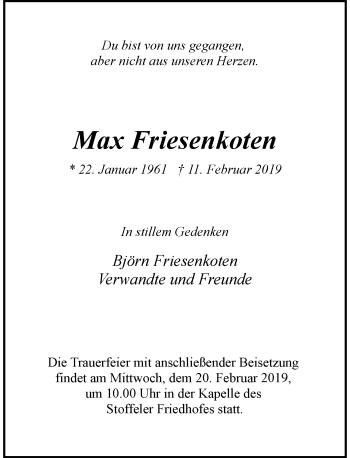 Traueranzeige von Max Friesenkoten von Rheinische Post