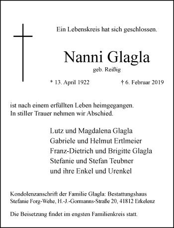 Traueranzeige von Nanni Glagla von Rheinische Post