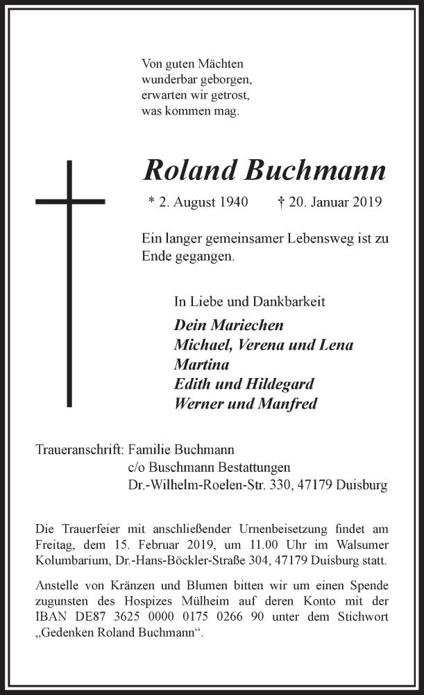 Anzeige von  Roland Buchmann