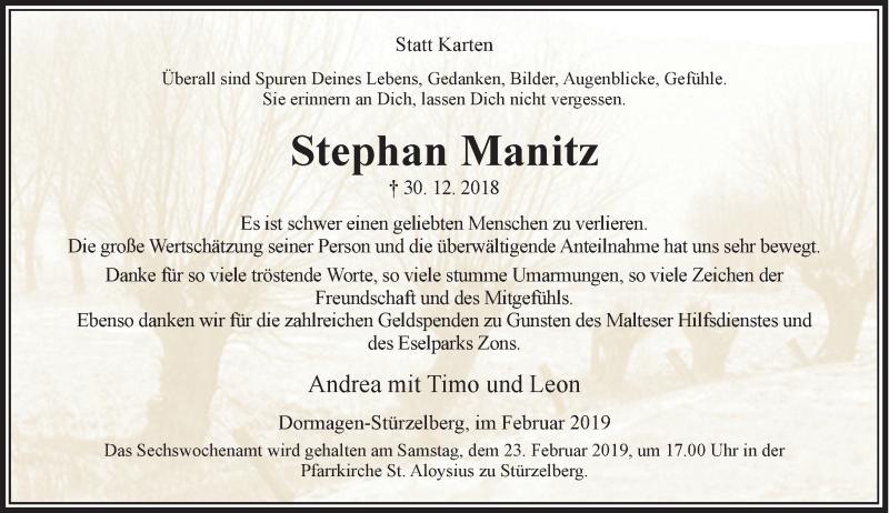 Traueranzeige für Stephan Manitz vom 16.02.2019 aus Rheinische Post