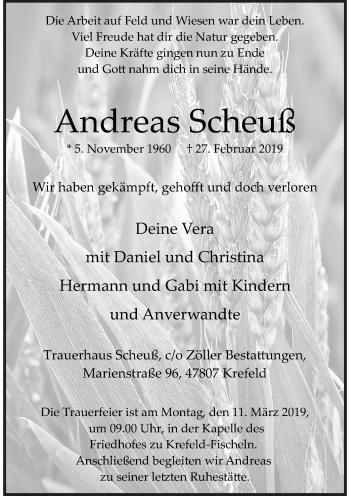 Traueranzeige von Andreas Scheuß von Rheinische Post