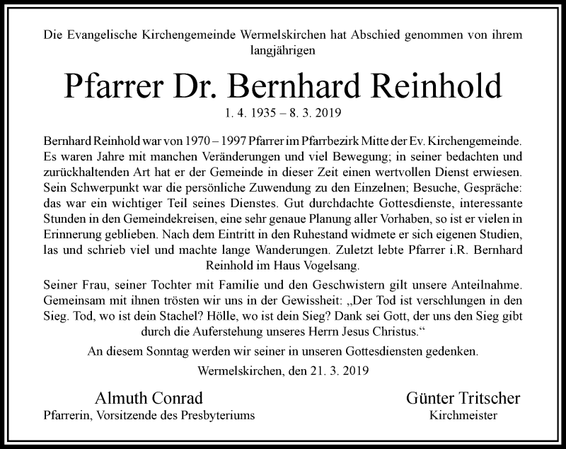 Traueranzeige für Bernhard Reinhold vom 23.03.2019 aus Rheinische Post