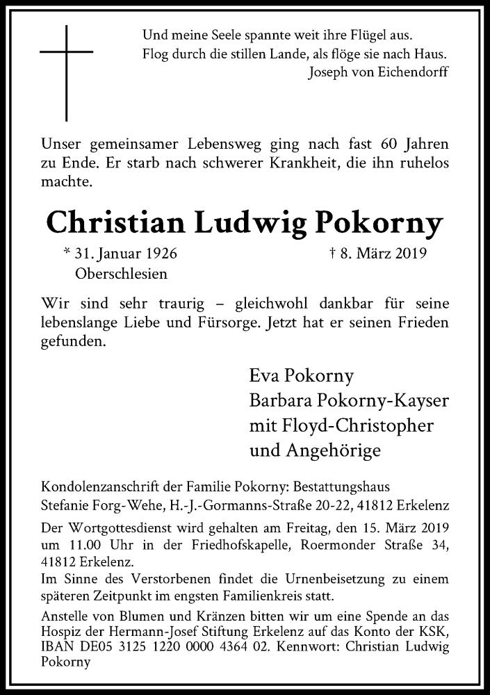 Traueranzeige für Christian Ludwig Pokorny vom 13.03.2019 aus Rheinische Post