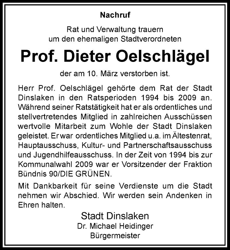 Anzeige von  Dieter Oelschlägel