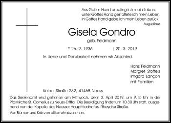 Traueranzeige von Gisela Gondro von Rheinische Post