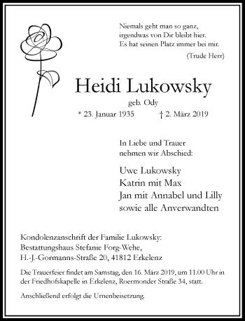 Traueranzeige von Heidi Lukowsky von Rheinische Post