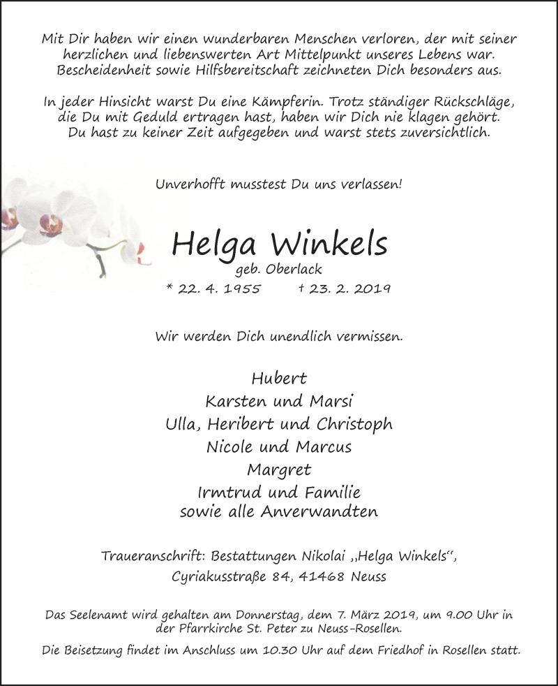 Traueranzeige für Helga Winkels vom 02.03.2019 aus Rheinische Post