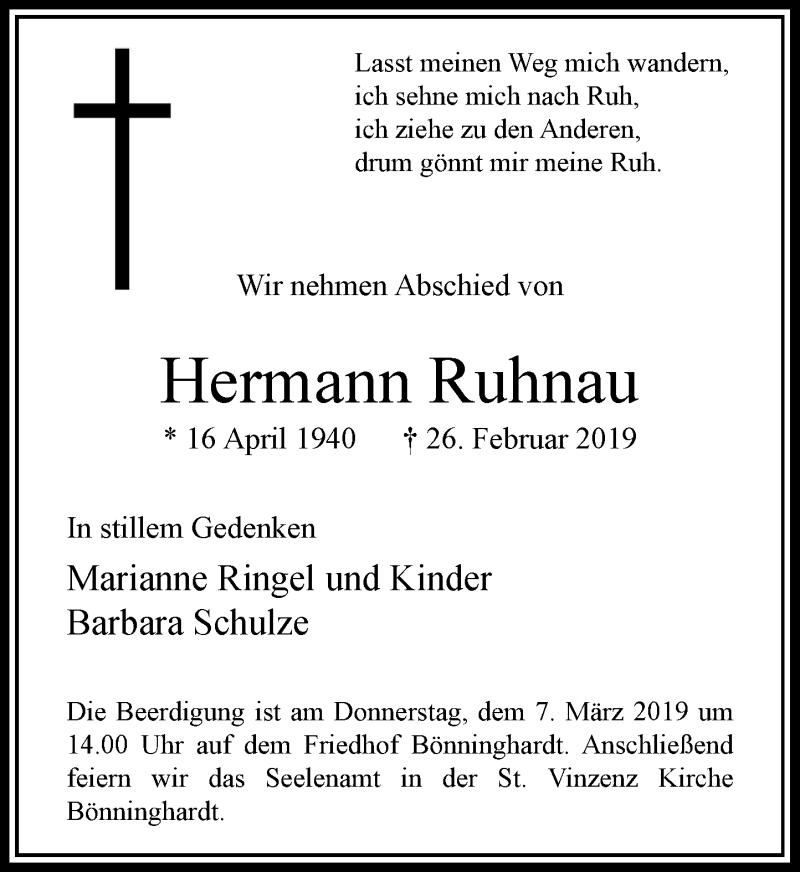 Anzeige von  Hermann Ruhnau