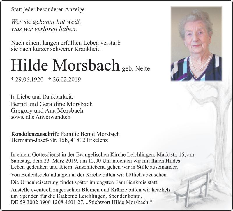 Traueranzeige für Hilde Morsbach vom 16.03.2019 aus Rheinische Post