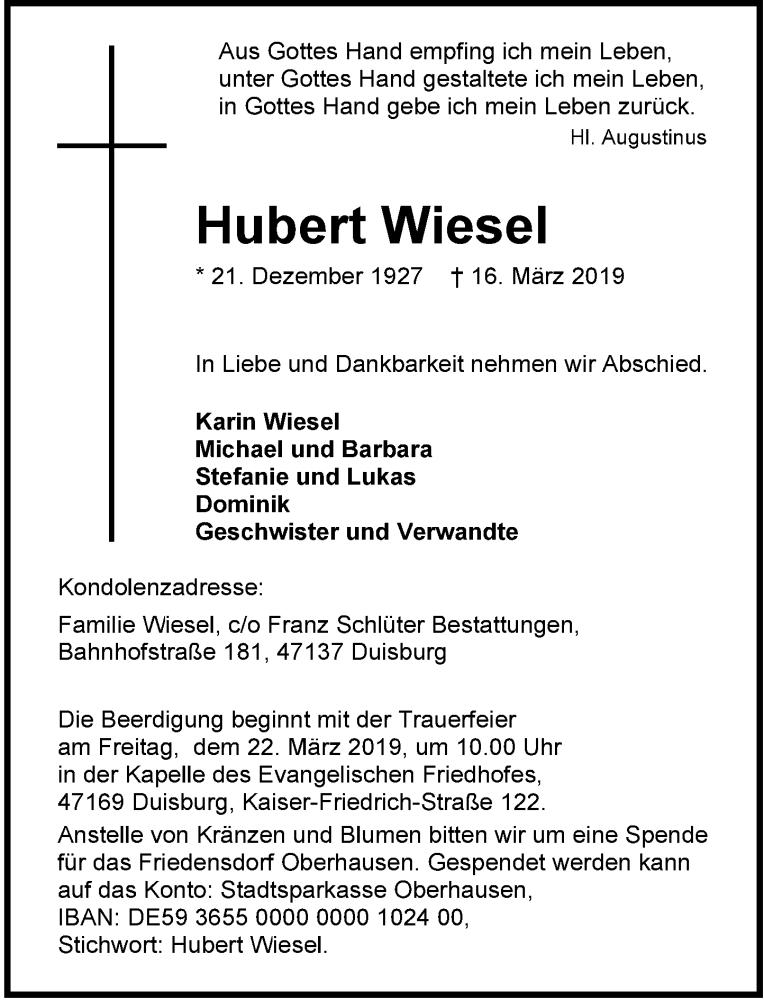 Anzeige von  Hubert Wiesel