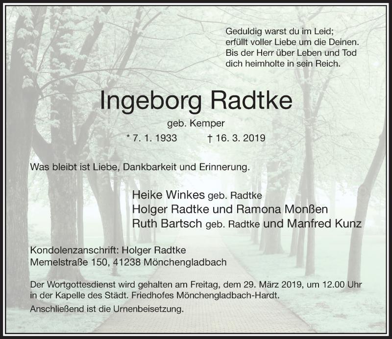 Anzeige von  Ingeborg Radtke