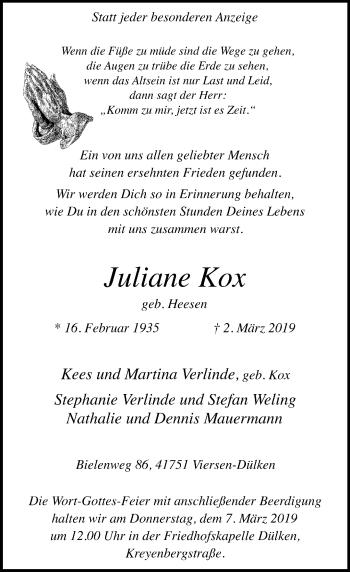 Traueranzeige von Juliane Kox von Rheinische Post