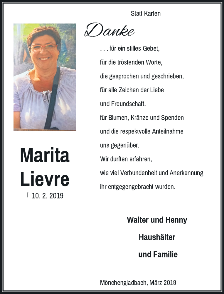 Anzeige von  Marita Lièvre
