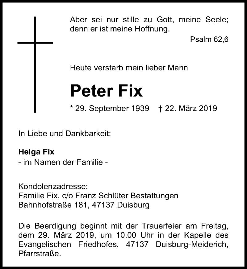 Traueranzeige für Peter Fix vom 27.03.2019 aus Rheinische Post