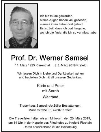 Traueranzeige von Werner Samsel von Rheinische Post