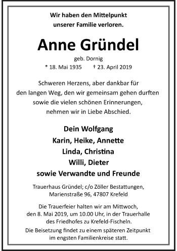 Traueranzeige von Anne Gründel von Rheinische Post