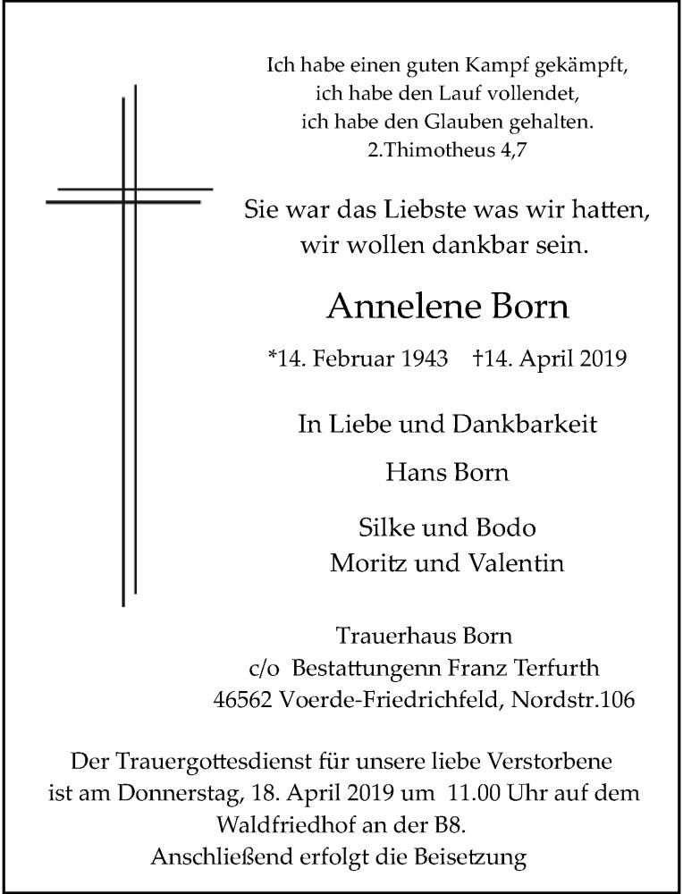 Anzeige von  Annelene Born