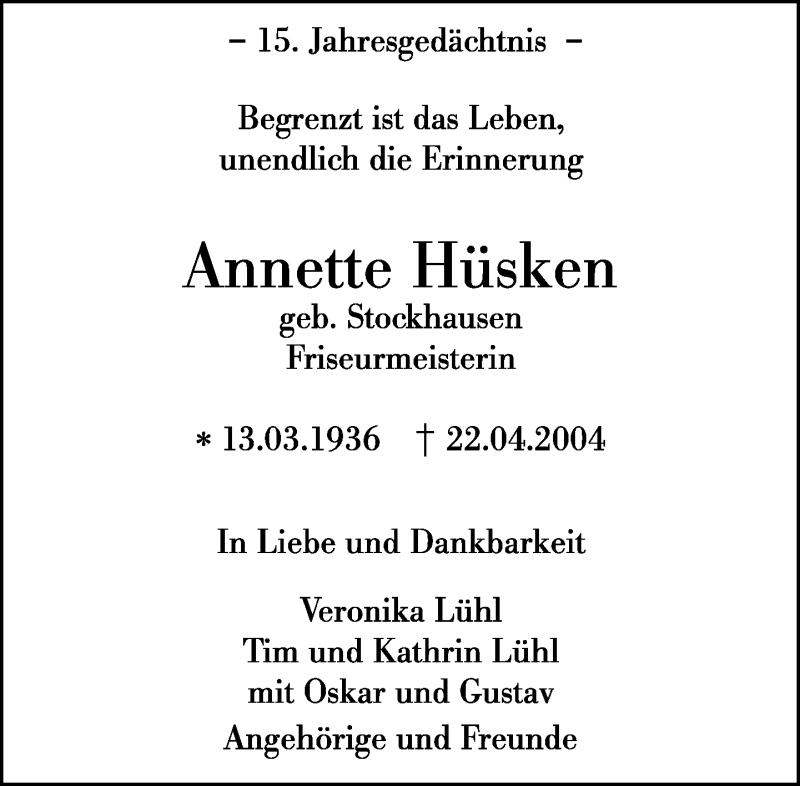 Traueranzeige für Annette Hüsken vom 20.04.2019 aus Rheinische Post