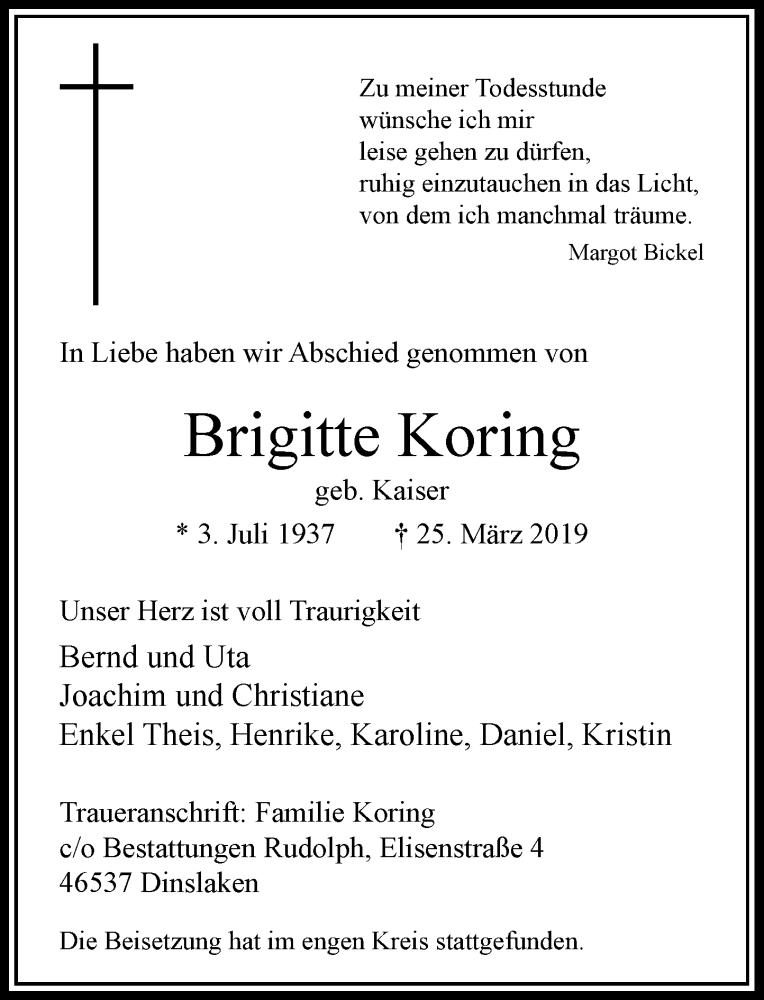 Anzeige von  Brigitte Koring