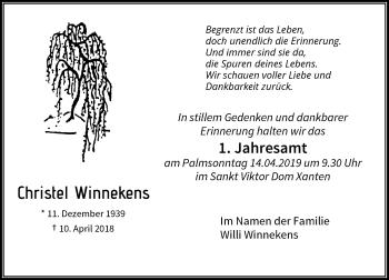 Traueranzeige von Christel Winnekens von Rheinische Post