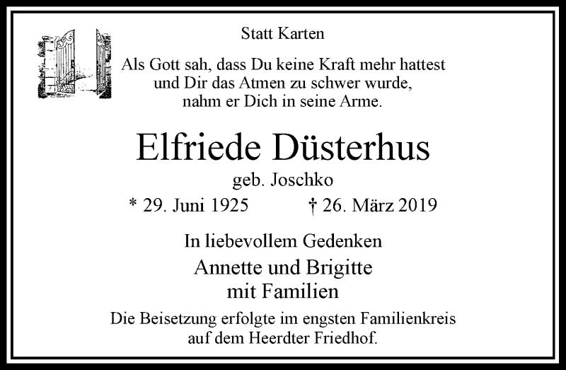 Anzeige von  Elfriede Düsterhus