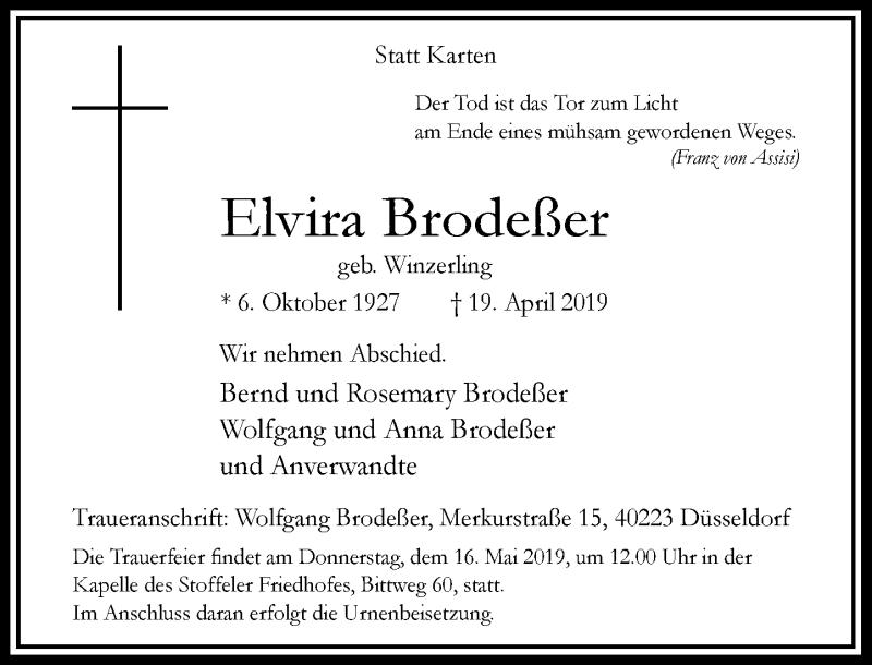 Traueranzeige für Elvira Brodeßer vom 04.05.2019 aus Rheinische Post