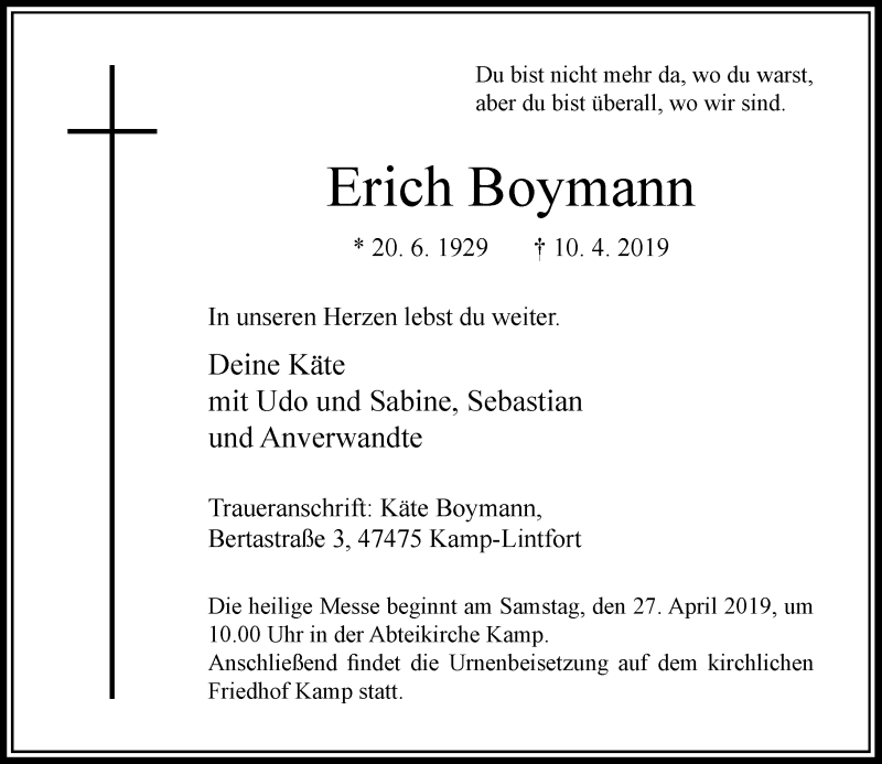 Anzeige von  Erich Boymann