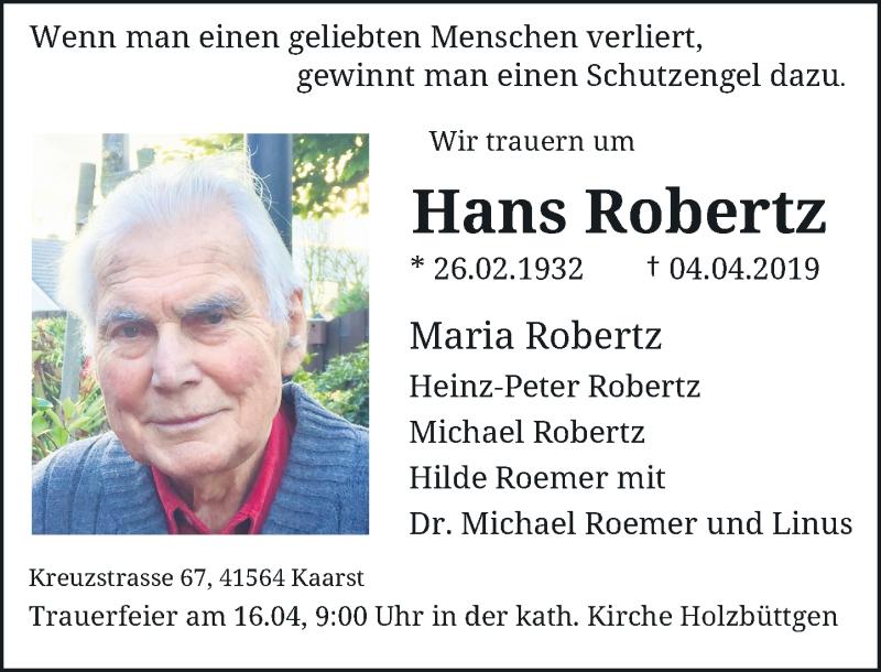 Anzeige von  Hans Robertz